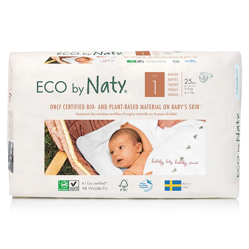 Органические подгузники Eco by Naty, размер 1 (от 2 до 5 кг), 25 шт.