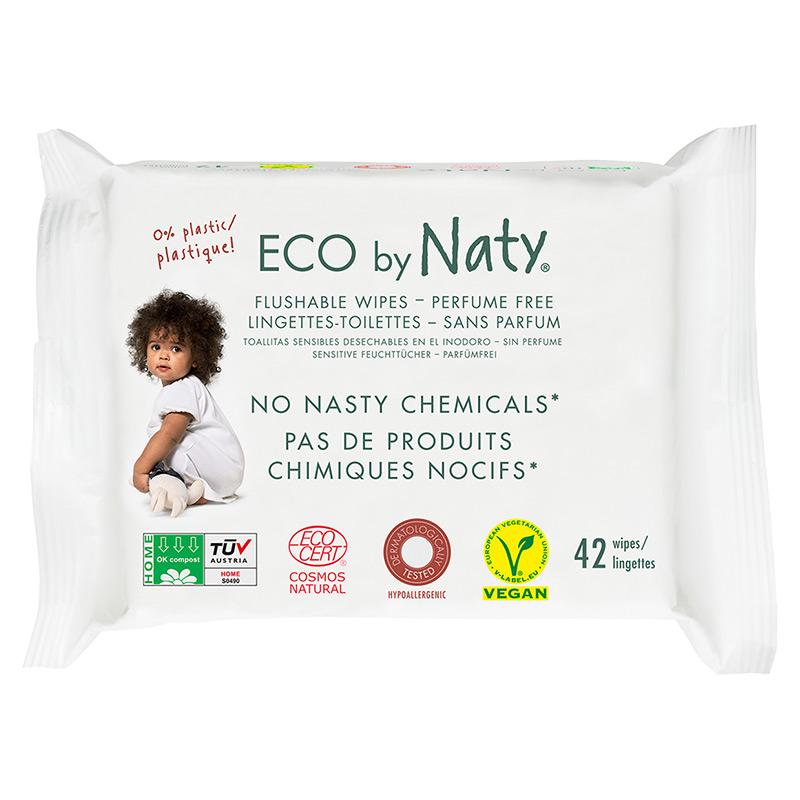Органічні дитячі вологі серветки Eco by Naty, що змиваються, 42 шт