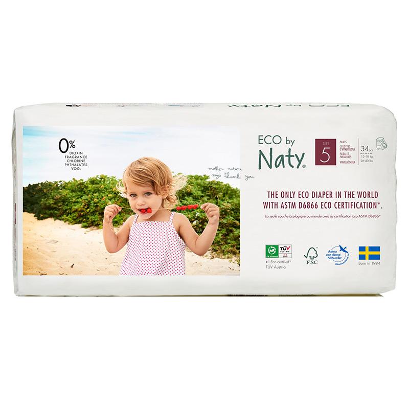 Органічні підгузки-трусики Eco by Naty, розмір 5 ML (від 12 до 18 кг), 34 шт.