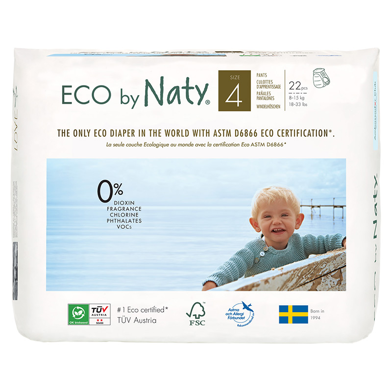 Органические подгузники-трусики Eco by Naty, размер 4 ML (от 8 до 15 кг), 22 шт.