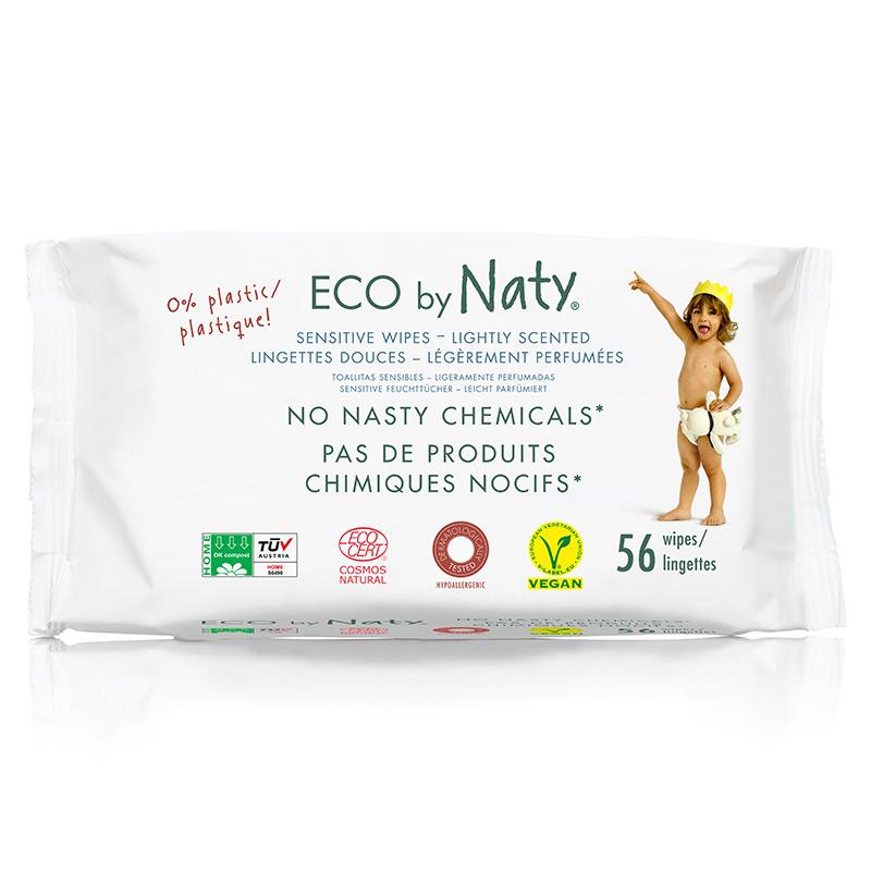 Органічні дитячі вологі серветки Eco by Naty з легким ароматом, 56 шт
