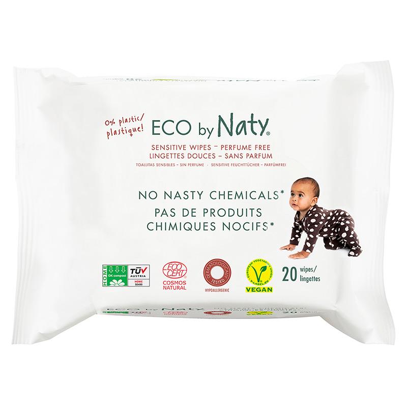 Органічні дитячі вологі серветки Eco by Naty для подорожі, 20 шт