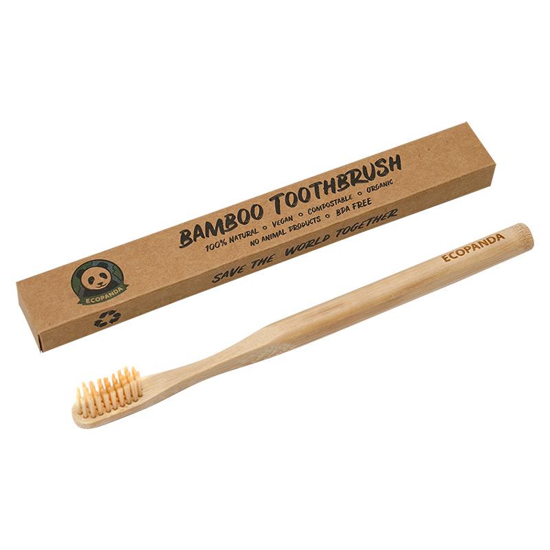 Бамбукова зубна щітка Ecopanda (коричнева)
