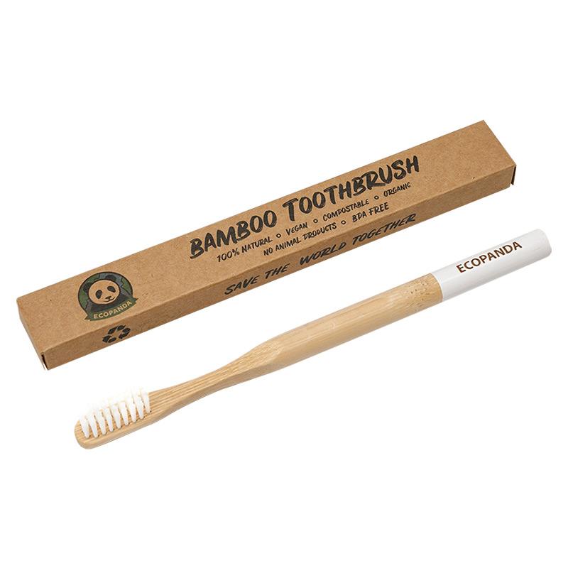 Бамбукова зубна щітка Ecopanda (біла)