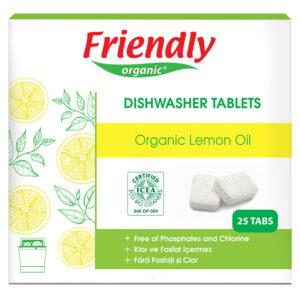 Органічні таблетки для миття посуду в посудомийній машині FRIENDLY ORGANIC лимон, 25 шт.