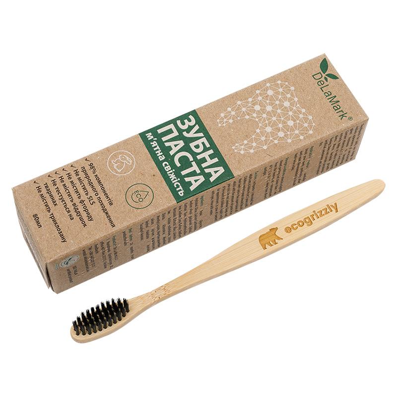 """Комплект """"Здоровые зубы"""": зубная щетка Ecogrizzly и паста Delamark"""