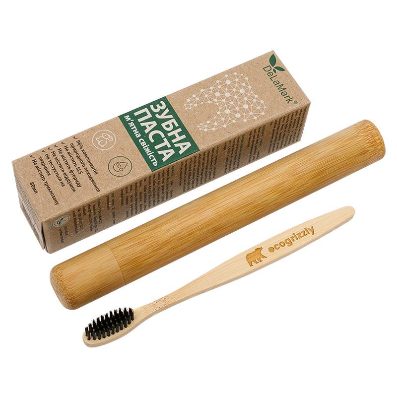 """Комплект """"Для подорожі"""": зубна щітка Ecogrizzly + футляр + паста Delamark"""