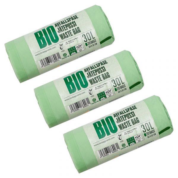 Комплект біорозкладних пакетів для сміття BioBag Family, 3 рулони