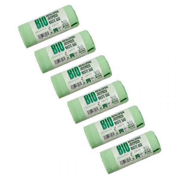 Комплект біорозкладних пакетів для сміття BioBag Big Family, 6 рулонів