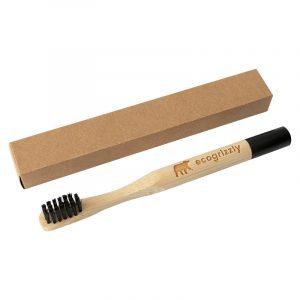 Бамбуковая зубная щетка Ecogrizzly для детей (черная)