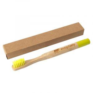 Бамбуковая зубная щетка Ecogrizzly для детей (желтая)