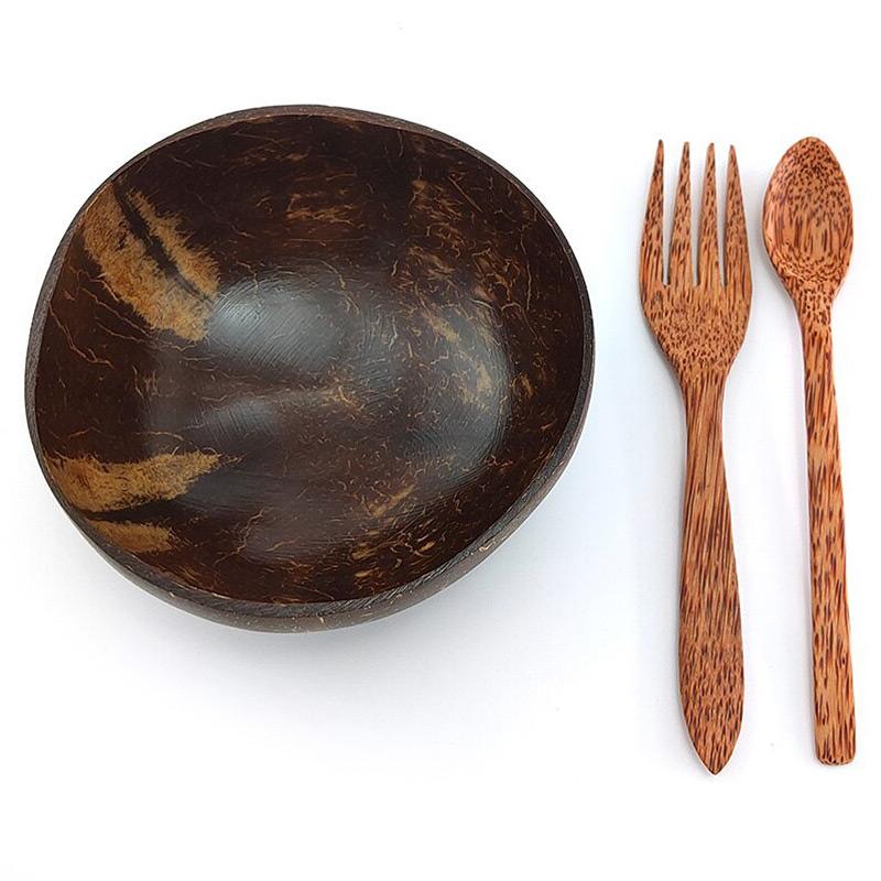 Набір посуду з кокосу: миска, ложка, виделка